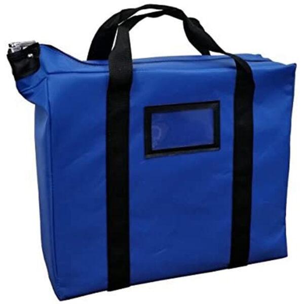 blue locking document bag