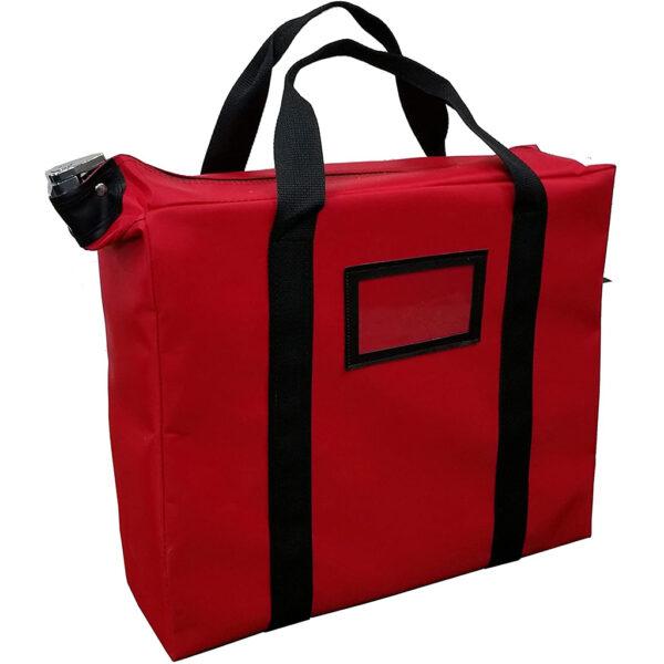 red locking document bag